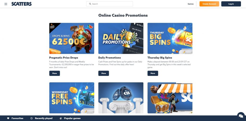 Scatters Casino Promotions Screenshot